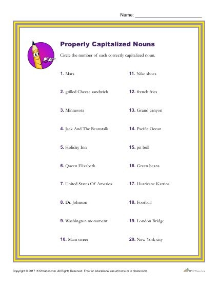 Which Of The Following Nouns Is Properly Capitalized