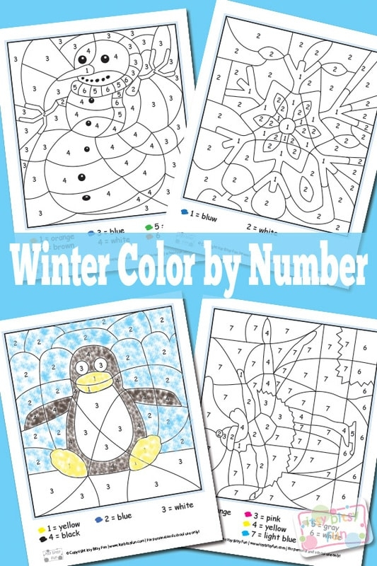 Winter Color By Numbers Worksheets