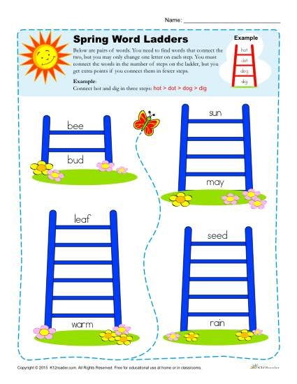 Word Ladder Spring Worksheets For Nd  Rd  Th Grade