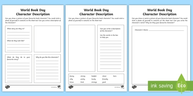 World Book Day Character Description Activity Sheets