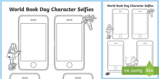 World Book Day Character Selfies Worksheet  Worksheet