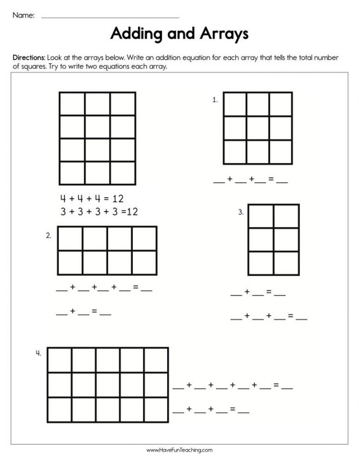 Adding And Arrays Worksheet  Have Fun Teaching