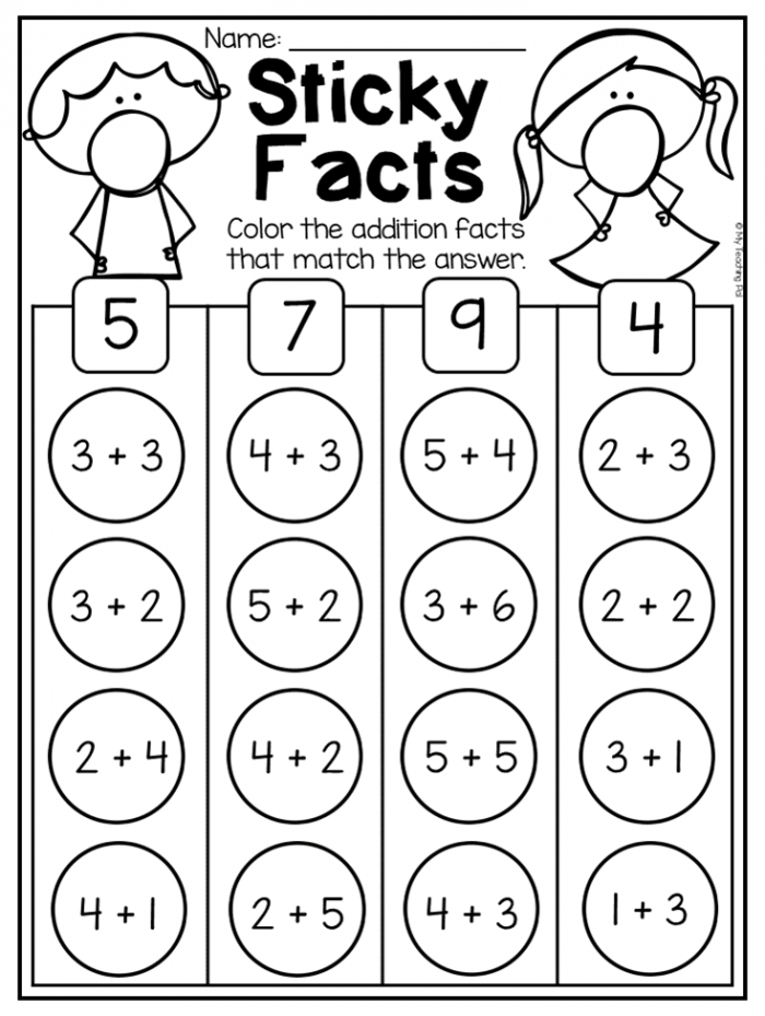 Addition Worksheet To Ten For Kindergarten This Packet Is Jammed