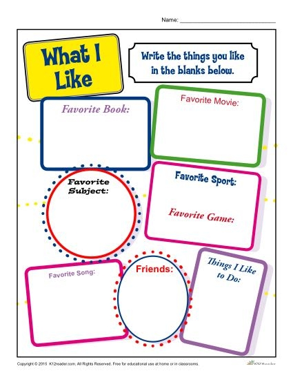 Back To School What I Like Activity For Elementary School