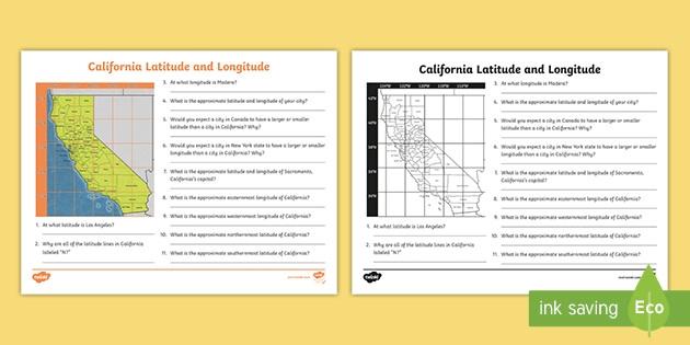 California Latitude And Longitude Activity