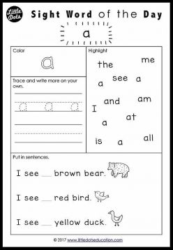 Kindergarten Sight Words: A To Are