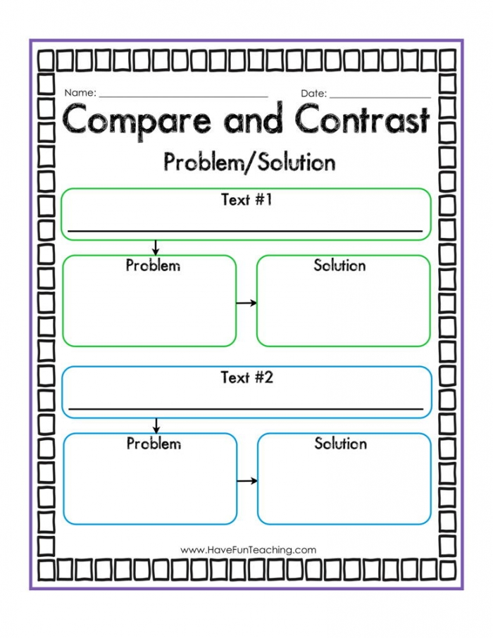 Compare And Contrast Problem And Solution Graphic Organizer