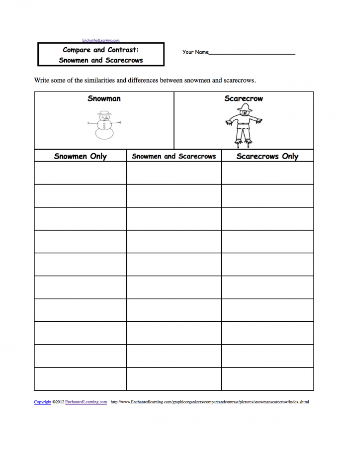 Compare And Contrast Snowmen And Scarecrows  A Worksheet