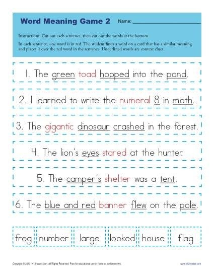 Context Clues Worksheets For St Grade