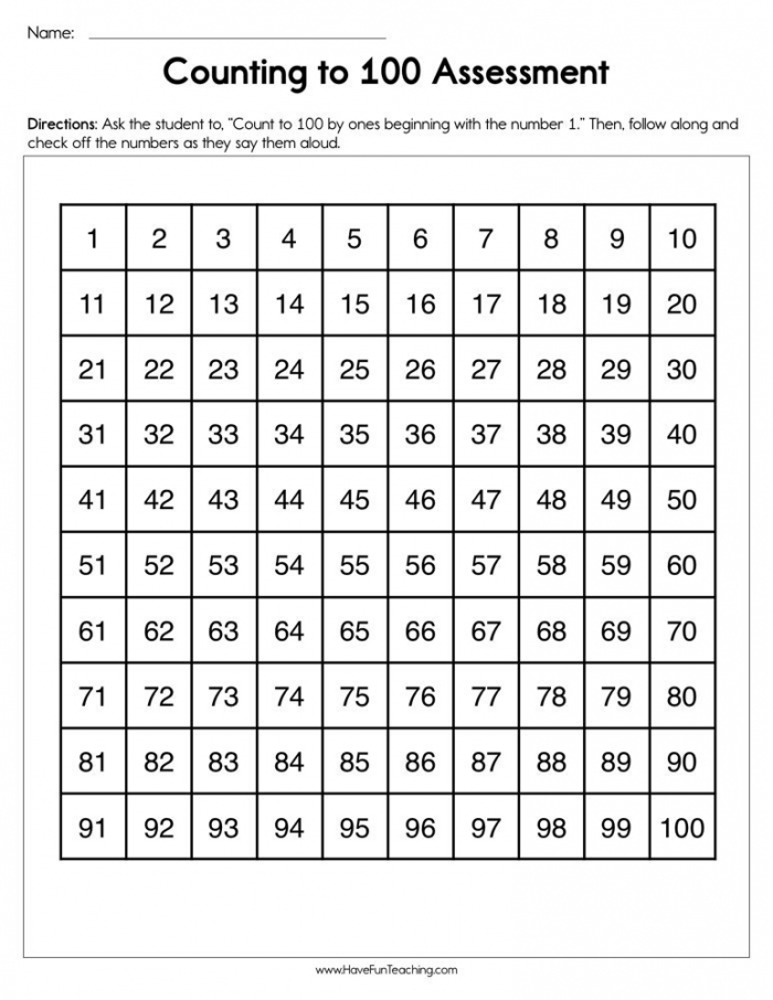 Counting To  Assessment Worksheet  Have Fun Teaching
