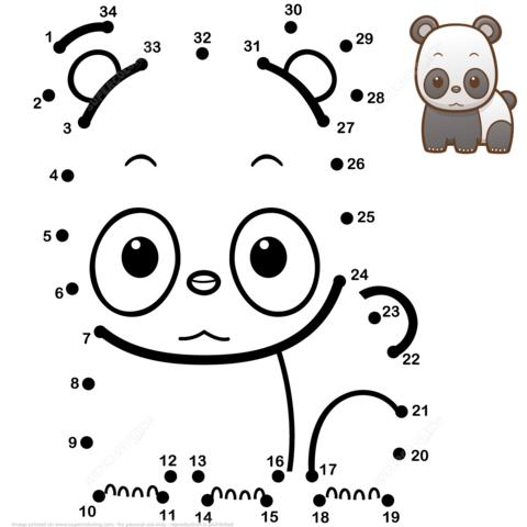 Cute Baby Panda Dot To Dot
