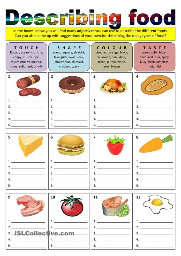 Describing Food Adjectives