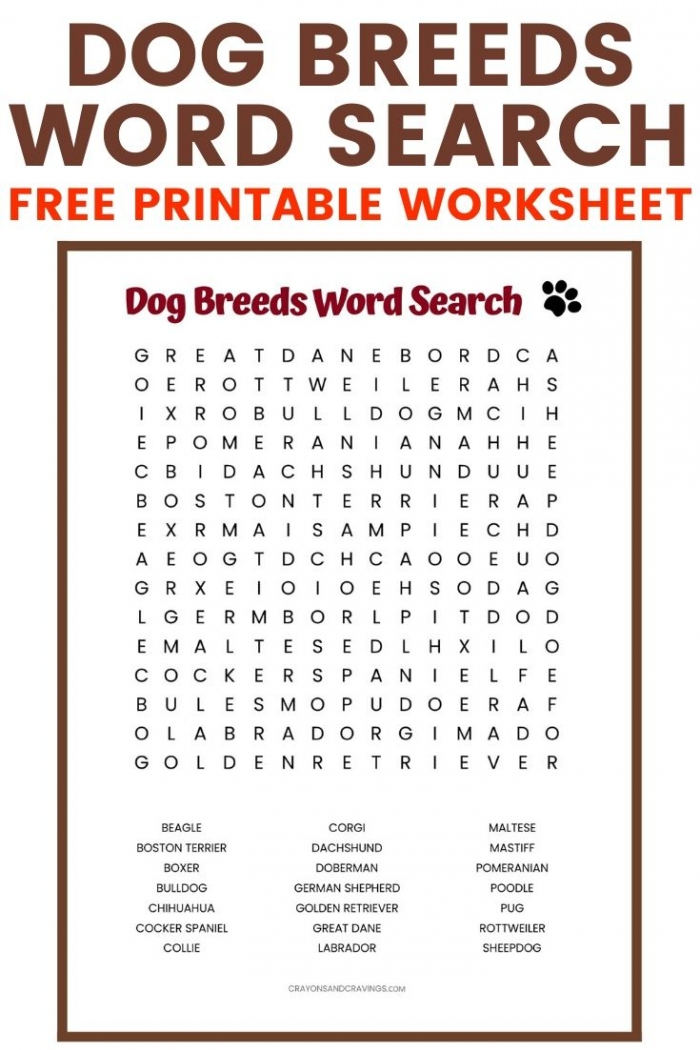 Dog Breeds Word Search Free Printable