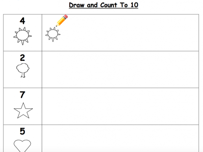 Draw And Count To  Worksheet