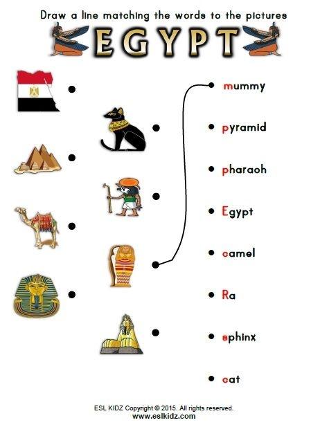 Egypt Vocabulary Matching Activity