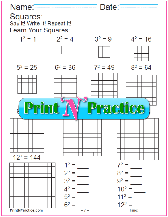 Exponent Worksheets For Practice  Definition  Squares  Cubes