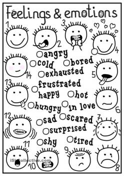 Emotions Coloring Sheet #2