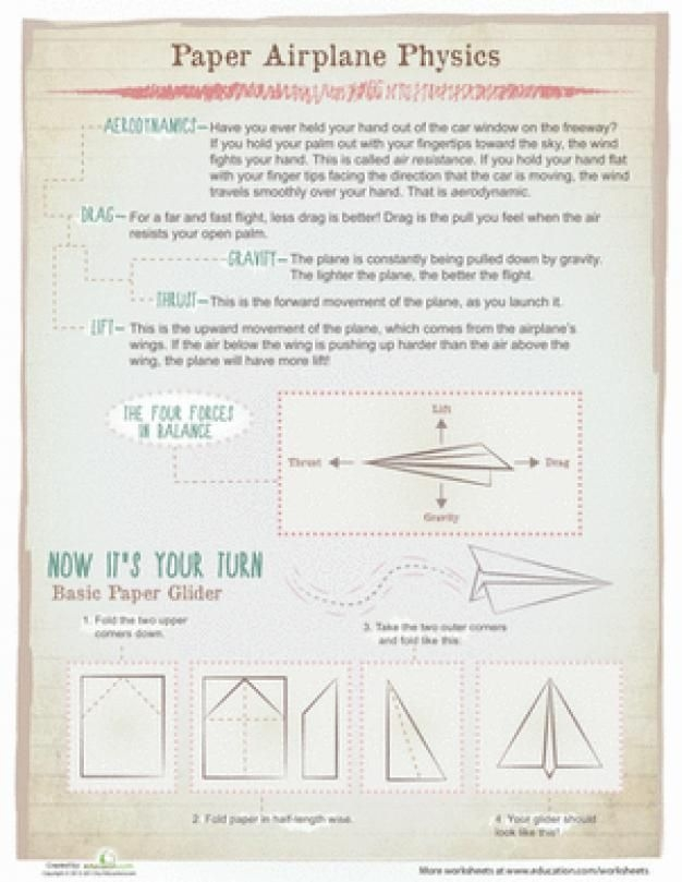 Fifth Grade Physical Science Worksheets Paper Airplane Physics