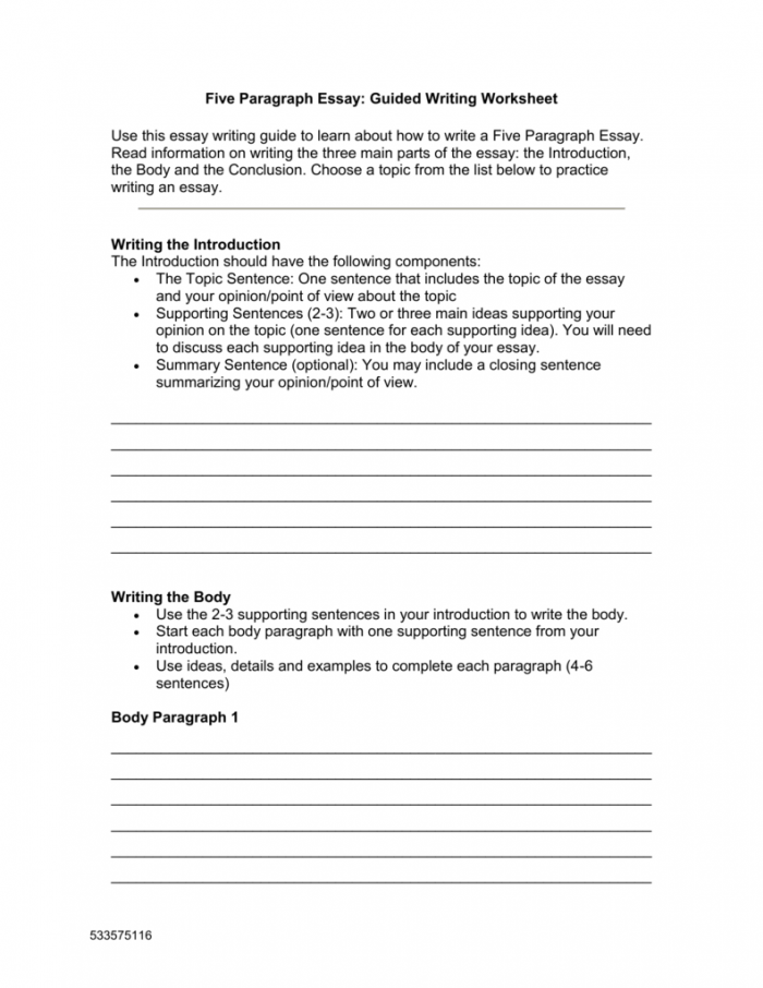 Five Paragraph Essay Guided Writing Worksheet