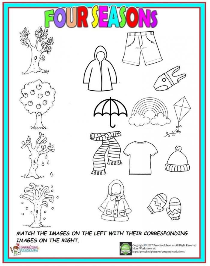 Four Season Worksheet For Kids