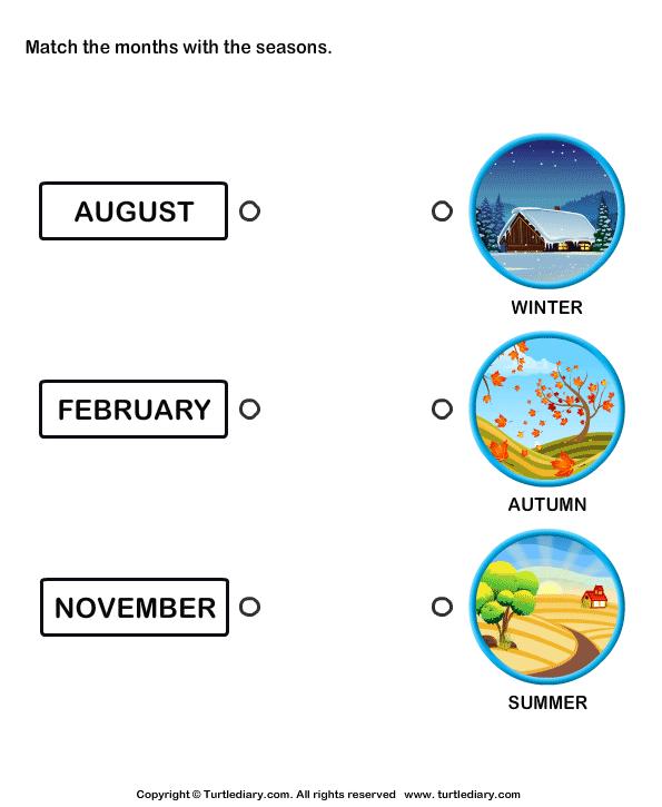 Four Seasons Matching Worksheet