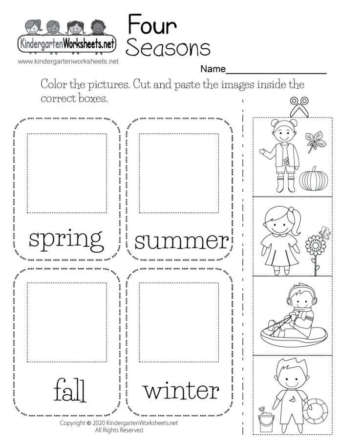 Four Seasons Worksheet For Kindergarten