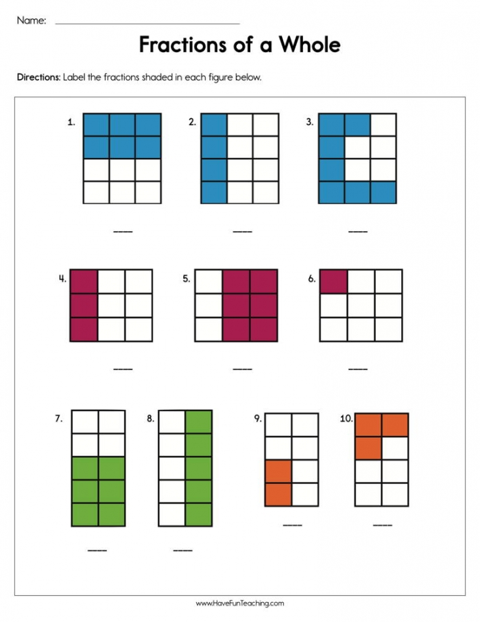 Fractions Of A Whole Worksheet  Have Fun Teaching