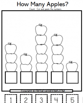 free apple numbers cut paste math worksheets 9