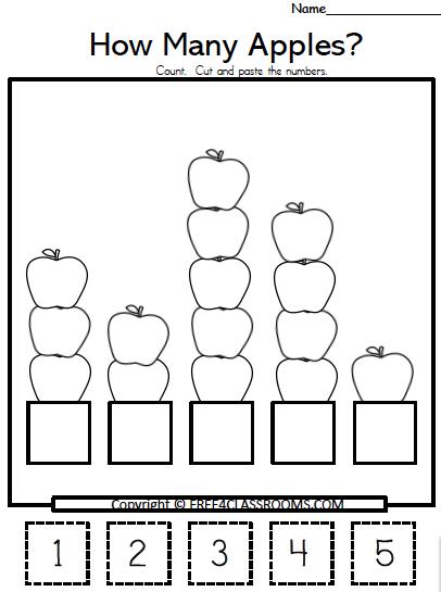 Free Apple Numbers Cut Paste Math Worksheets