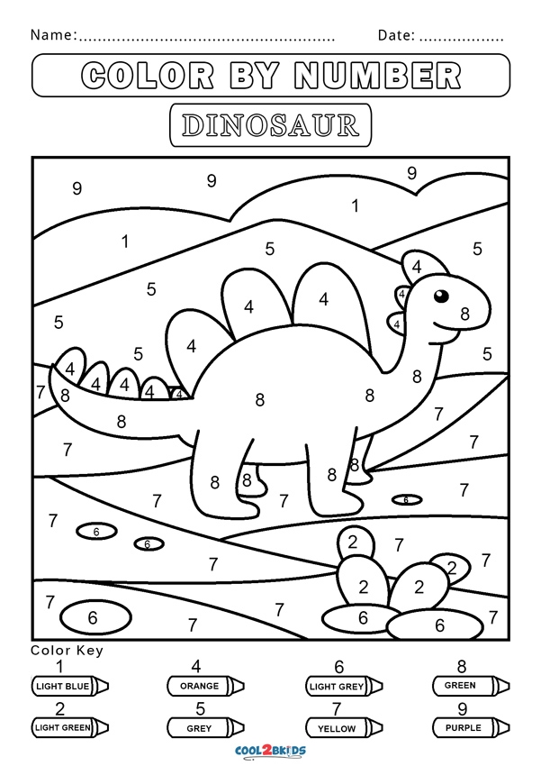 Free Color By Number Worksheets Coolbkids Dinosaur Quadrant Graph