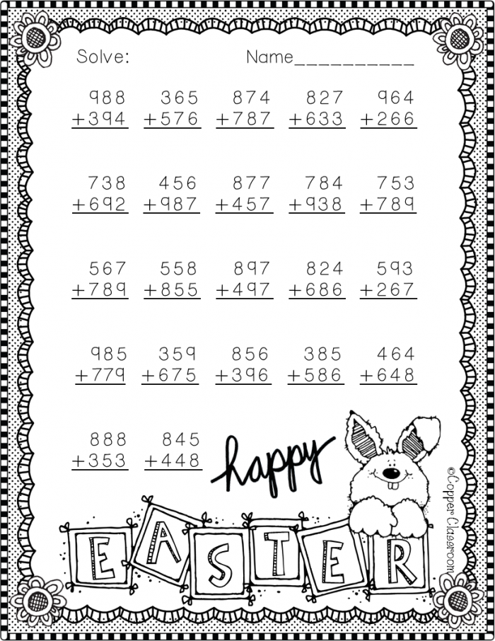 Free Easter Addition Printable