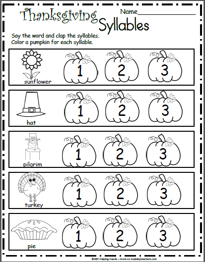Free Kindergarten Worksheets For November Thanksgiving