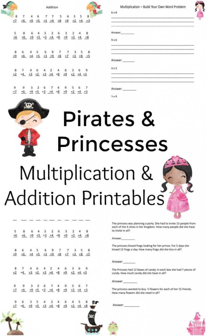 Free Pirate   Princess Math Worksheets