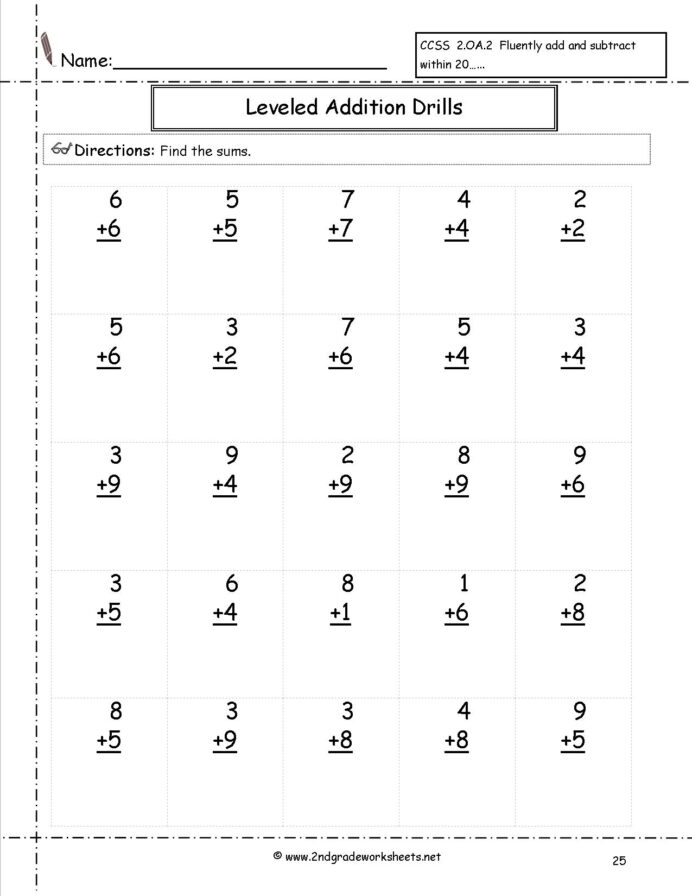 Free Simple Addition Worksheets Nd Grade Multiplication