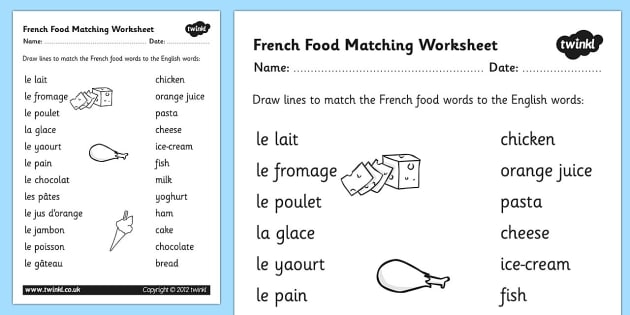 French Food Matching Words Worksheet Languages Resources School