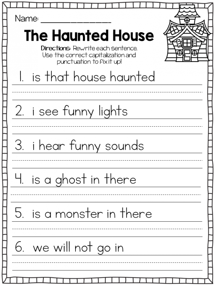 Included In This Packet Are  October Themed Fix It Up Sentences