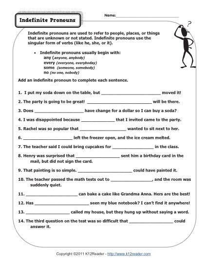 Indefinite Pronouns Worksheets Pronoun Practice Activity For Grade