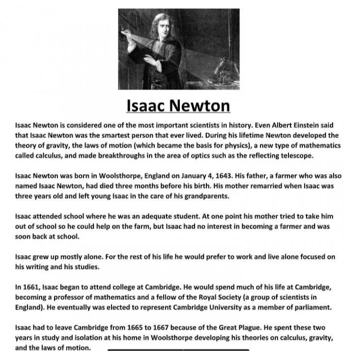 Isaac Newton Biography Worksheet