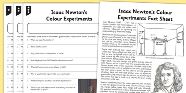 Isaac Newton Differentiated Reading Worksheets