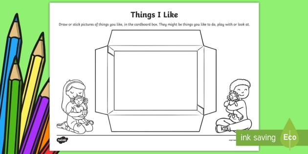 Kindergarten Things I Like Worksheet  Worksheet