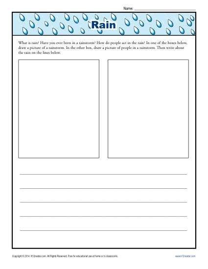 Kindergarten Writing Prompt About Rain