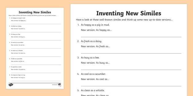 Ks Inventing New Similes Worksheet Teacher Made