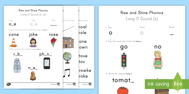 Long O Sound Worksheets Rise And Shine Phonics
