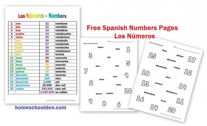Los Nmeros  Free Spanish Numbers Worksheets