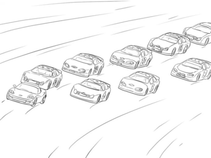Lot Of Nascar Cars Racing On The Hot Track Coloring Race