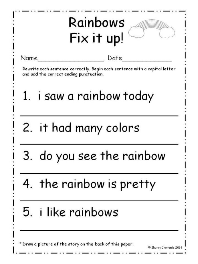 March Fix It Up Sentences First Grade Writing Matter Worksheets