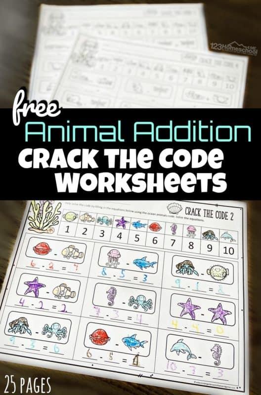Math Crack The Code Worksheets