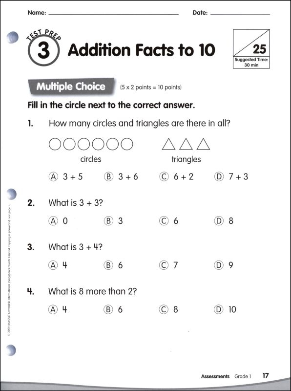 Math In Focus Grade Assessments Cavendish Worksheets I Year