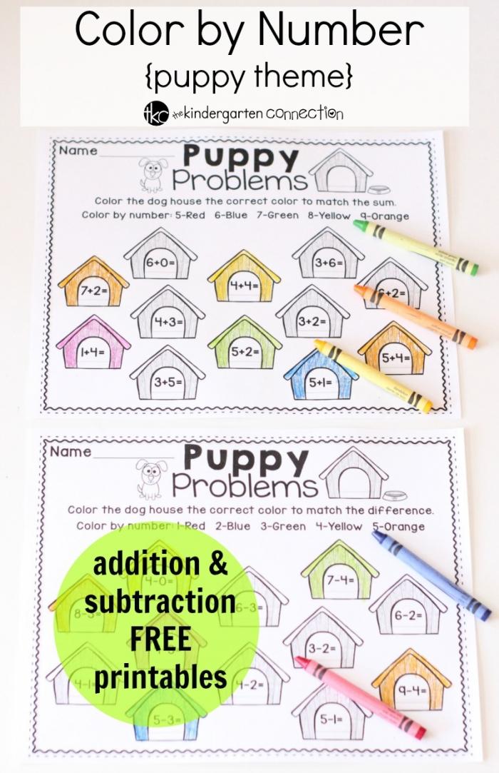 Math Worksheet  Math Worksheet Color Byr Puppy Theme Addition