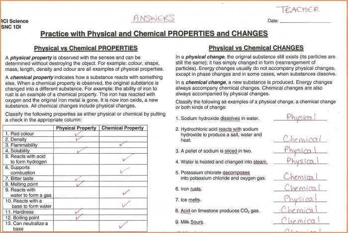 Matter And Change Worksheet Answers